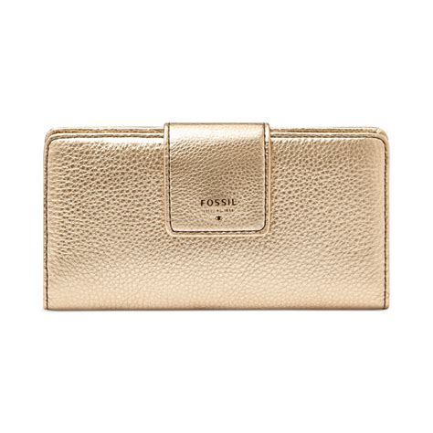 Dompet Fossil Sydney Tab Clutch Wallet Pink Stripe Leather Nwt fossil sydney leather tab clutch wallet in gold metallic gold lyst