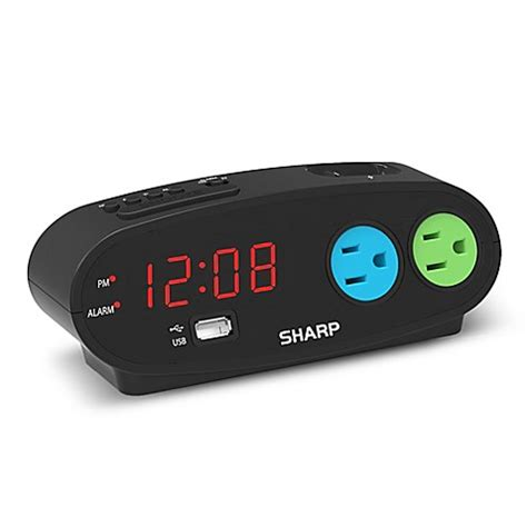 bed l with outlet sharp digital alarm clock with 2 outlets and 1 usb port