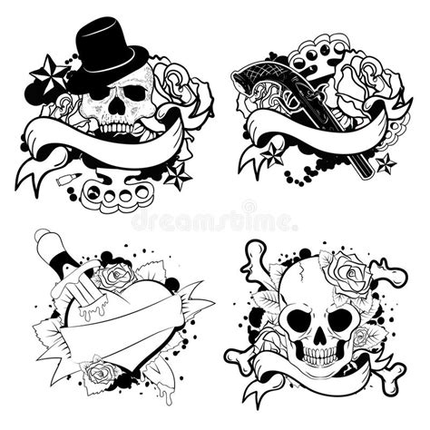 how to create a classic tattoo style vector illustration school set stock vector illustration of