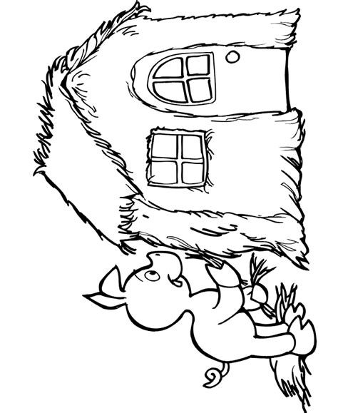 the three little pigs coloring page building straw house