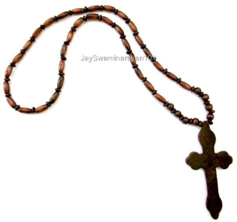 wood beaded big wooden cross necklace dk brown 29 quot ebay