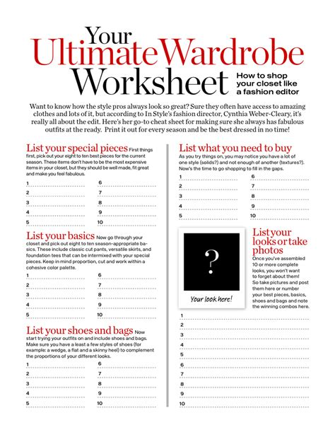 design clothes worksheet your ultimate wardrobe worksheet download pdf misc