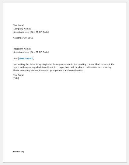 Apology Letter To For Coming Late 46 apology letter templates for everyone word document