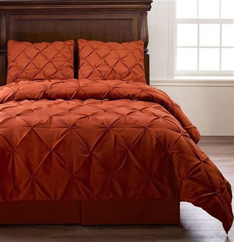 pinch pleat orange bedding 4 piece comforter set twin
