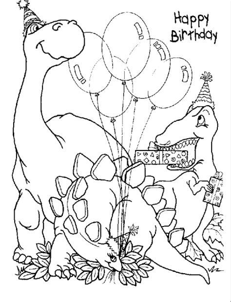 Poster Happy Birthday (Dinasour) - Gambar Mewarna