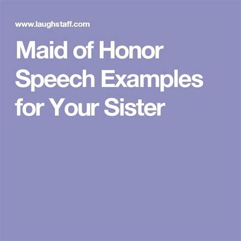 Maid of Honor Speech Examples for Your Sister    Pinteres
