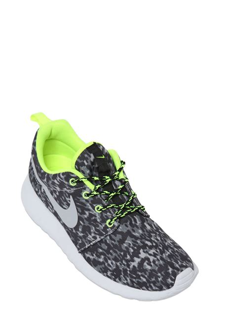 nike leopard print running shoes nike roshe run leopard print running sneakers in gray lyst
