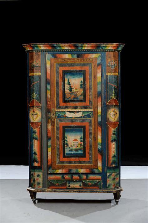 armadi tirolesi dipinti armadio in legno laccato in policromia arte tirolese xix