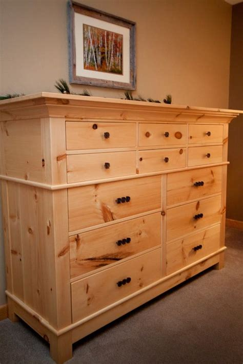 Handmade Knotty Pine Dresser By Pin Scroll Elegant Wood Knotty Pine Bedroom Furniture