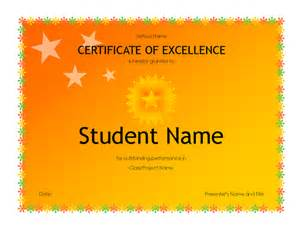 Academic Certificate Templates Student Excellence Award High School Free Certificate