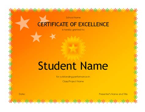 academic award certificate template student excellence award high school free certificate