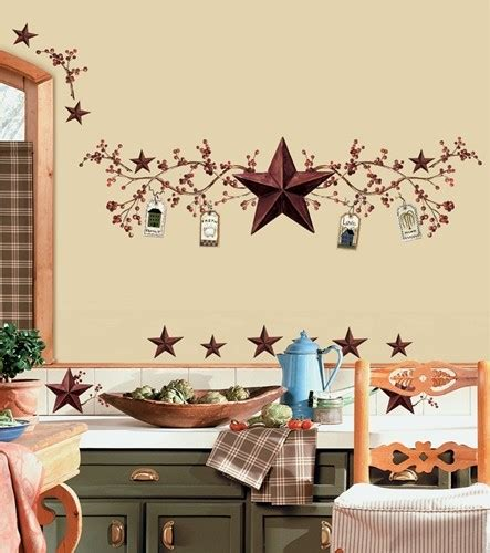 country hearts and stars bathroom decor stars and berries wall decals country kitchen stickers