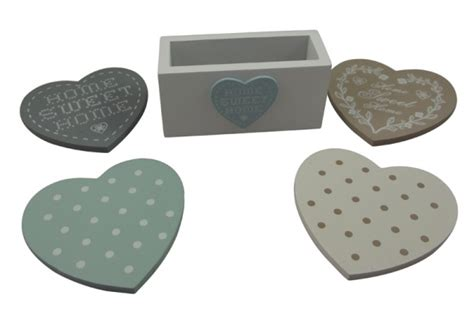 shabby chic heart coasters in stand