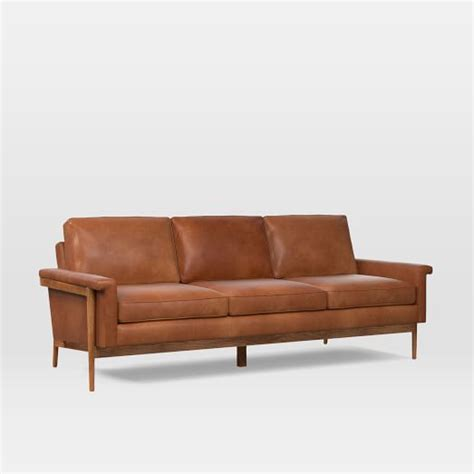 Leather And Wood Sofa Wood Frame Leather Sofa 82 Quot West Elm