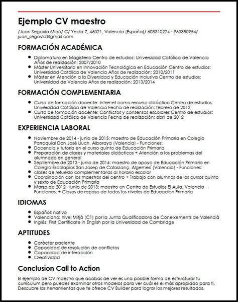 Modelo Curriculum Vitae Docente Pin Modelo Curriculum Maestro On