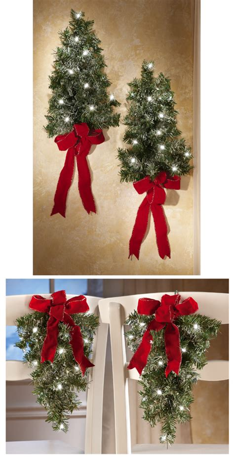 set of 2 lighted holiday wall tree for christmas home