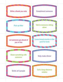 random acts of kindness cards templates free random acts of kindness cards for