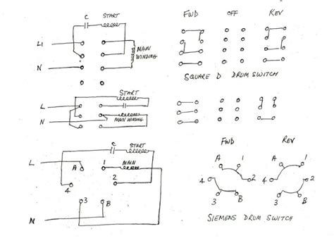 single phase motor reversing drum switch wiring diagrams