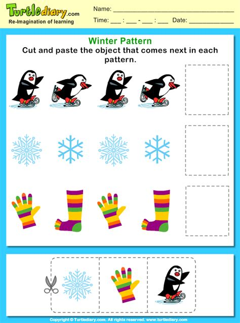 pattern worksheet cut and paste complete the pattern cut and paste worksheet turtle diary