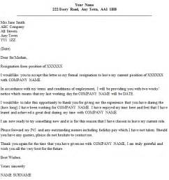 Sles Of Letter Of Resignation Two Weeks Notice by Simple Resignation Letter 2 Week Notice