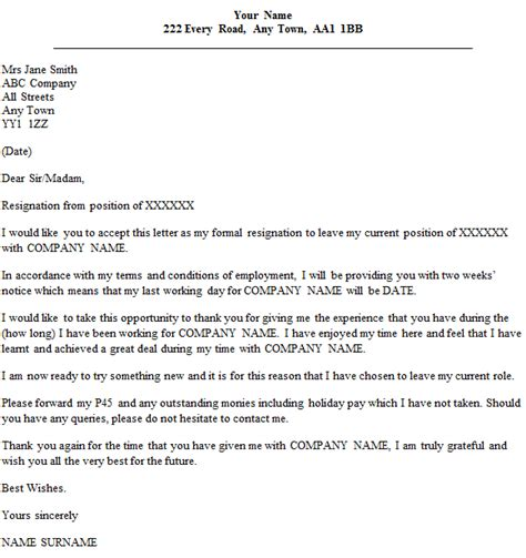 resignation letter formal 2 weeks notice