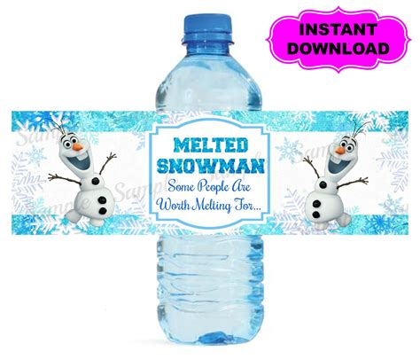 frozen printable melted snow frozen water bottle label printable digital by kidspartypixel