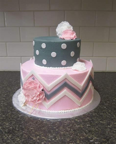Gray And Pink Baby Shower by Pink Grey Baby Shower Cake Www Pixshark Images