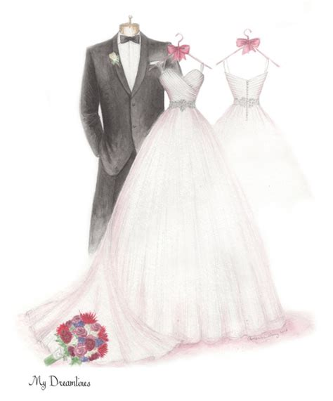 Wedding Sketch by Dreamlines Personalized Wedding Dress Sketch O Fallon