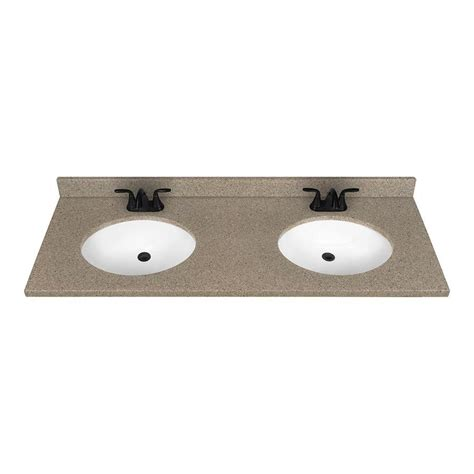 22 Inch Bathroom Vanities Shop Nutmeg Solid Surface Integral Double Sink Bathroom