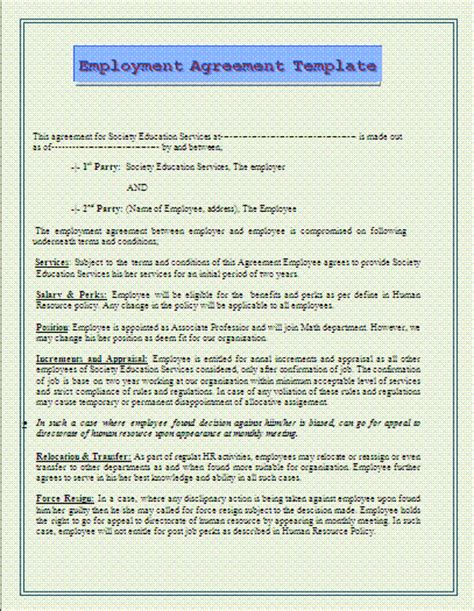 Employment Agreement Template Free Printable Word Templates Employee Compensation Agreement Template
