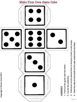 Blank Game Cube To Make Your Own Dice Template חשבון Pinterest Dice Template Games And Make Your Own Dice Template