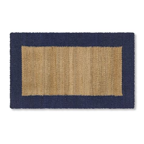 William Sonoma Kitchen Rugs Kitchen Rug Jute Blue Border Williams Sonoma