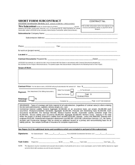 contractor subcontractor agreement template subcontractor agreement template subcontractor services