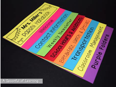 A Spoonful Of Learning Back To School Parent Handbook Flip Book Free Flip Book Template For Teachers