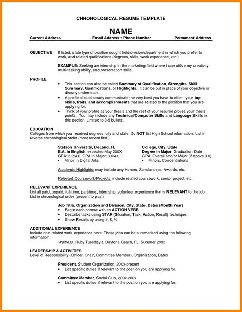 Resume Chronological Order by Resume In Chronological Order Bongdaao