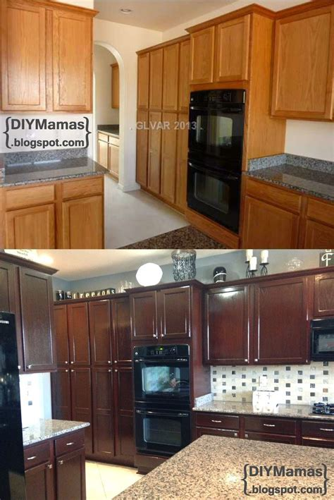 diy staining kitchen cabinets diy mamas kitchen makeover gel stain backsplash