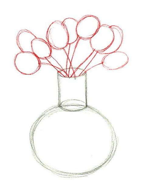 Drawing Flowers In A Vase by How To Draw Flower And Vase