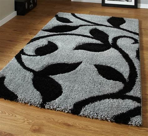 thick rugs grey and black high density thick pile carved shaggy rug ebay