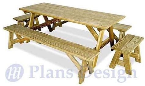 picnic table plans  separate benches kathy macdonald