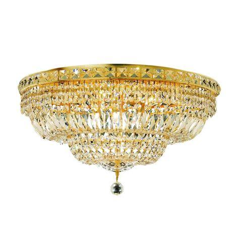 crystal clear light bulbs elegant lighting 12 light gold flushmount with clear