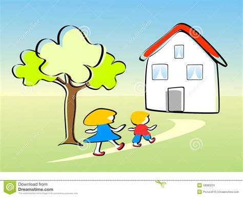 Who Went Home On With The children go home happy stock illustration image of garden 18083231