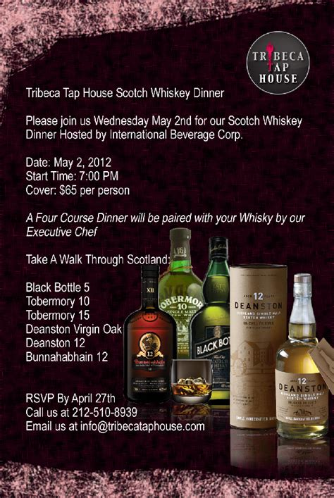 tap house nyc scotch whisky dinner at tribeca tap house murphguide nyc bar guide