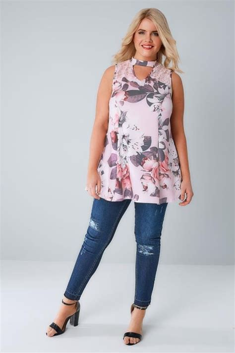 Dialogue Baby Giftset Owl Series 03 Dlb2364 pink white floral peplum choker top with lace panel plus size 16 to 36