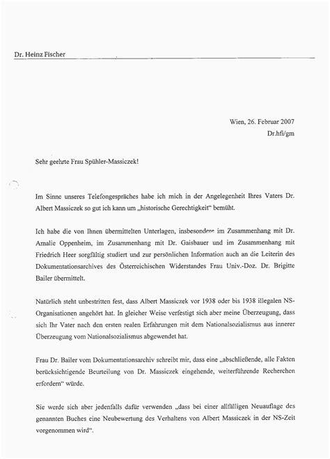Mit Freundlichen Grüßen Und Verbleibe Albert Massiczek Aussage Bundespr 228 Sident Dr Heinz Fischer