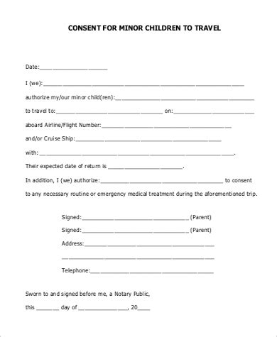 authorization letter for minor to travel sle child travel consent form 5 exles in word pdf