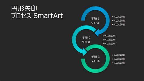 円形矢印プロセス smartart によるスライド 黒の背景に青と緑 ワイドスクリーン templates