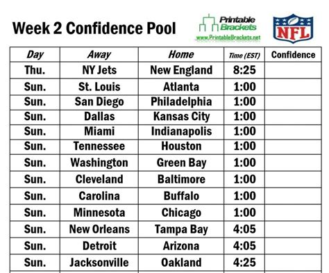 printable nfl schedule for week 2 nfl confidence pool week 2 football confidence pool week