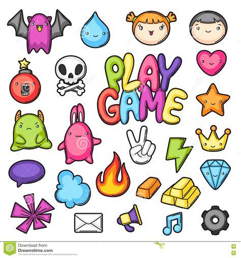 imagenes de simbolos hermosos game kawaii collection cute gaming design elements