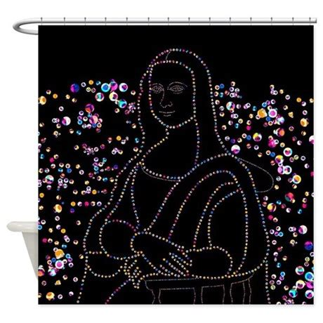 mona lisa shower curtain mona lisa bubbles shower curtain by ornaartzi