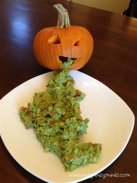 halloween pumpkin puke guacamole easy peasy meals